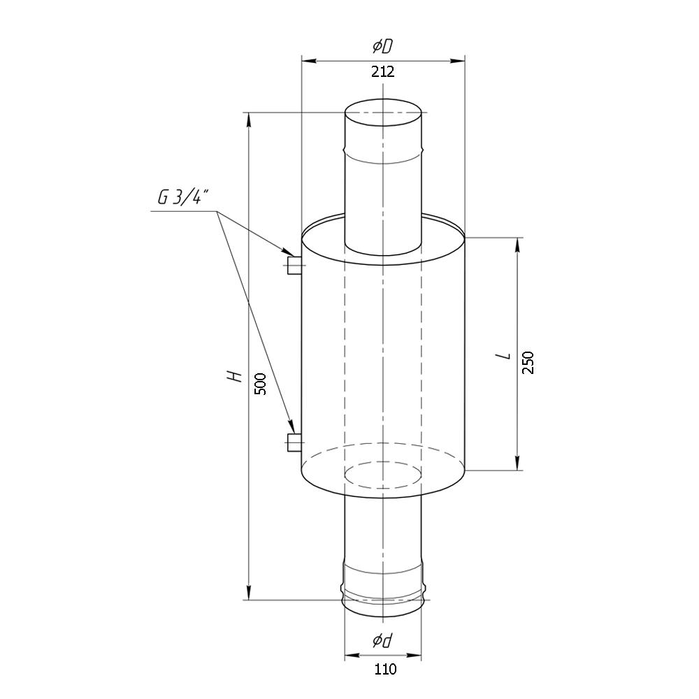 Бак для бани 6 л, регистр (на трубе диаметром 110 мм)